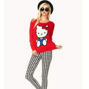 Hello Kitty Long Sleeve Red Sweater. Size Small